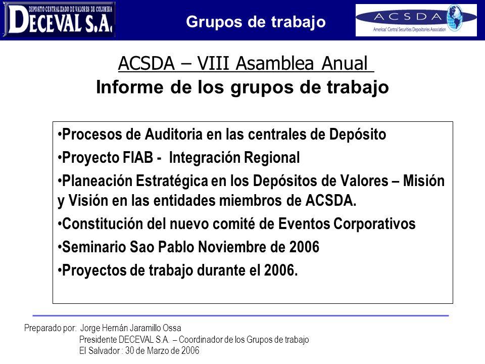 Peace of Mind ACSDA – VIII Asamblea Anual Preparado por: Jorge Hernán Jaramillo Ossa Presidente DECEVAL S.A. – Coordinador de los Grupos de trabajo El