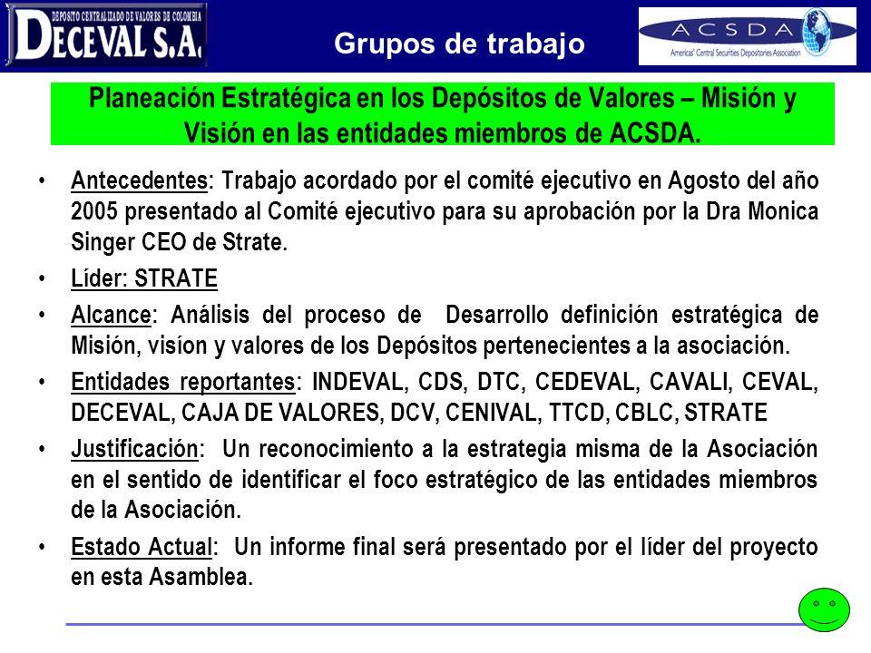 Peace of Mind Planeación Estratégica en los Depósitos de Valores – Misión y Visión en las entidades miembros de ACSDA. Antecedentes: Trabajo acordado