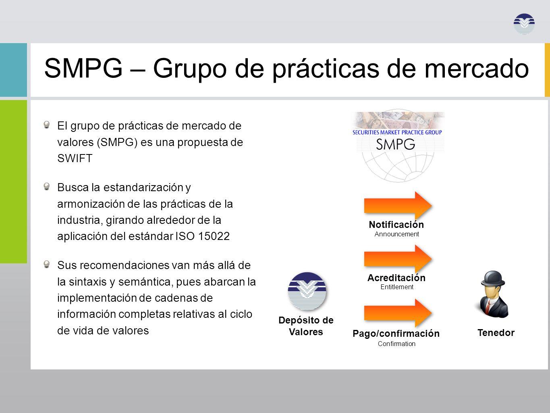 SMPG – Grupo de prácticas de mercado El grupo de prácticas de mercado de valores (SMPG) es una propuesta de SWIFT Busca la estandarización y armonizac