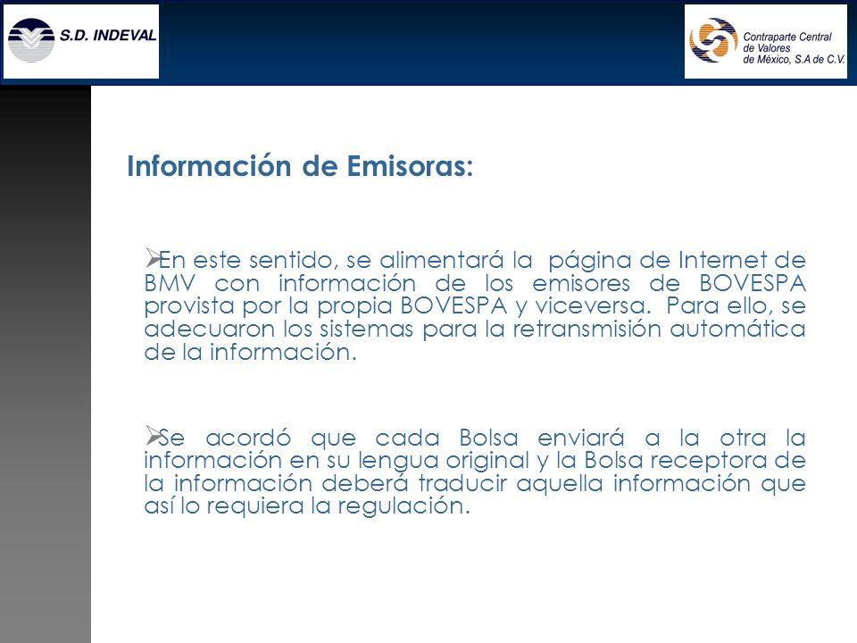 Información de Emisoras: En este sentido, se alimentará la página de Internet de BMV con información de los emisores de BOVESPA provista por la propia BOVESPA y viceversa.