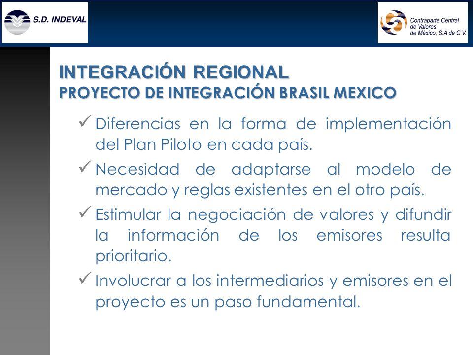 Diferencias en la forma de implementación del Plan Piloto en cada país. Necesidad de adaptarse al modelo de mercado y reglas existentes en el otro paí