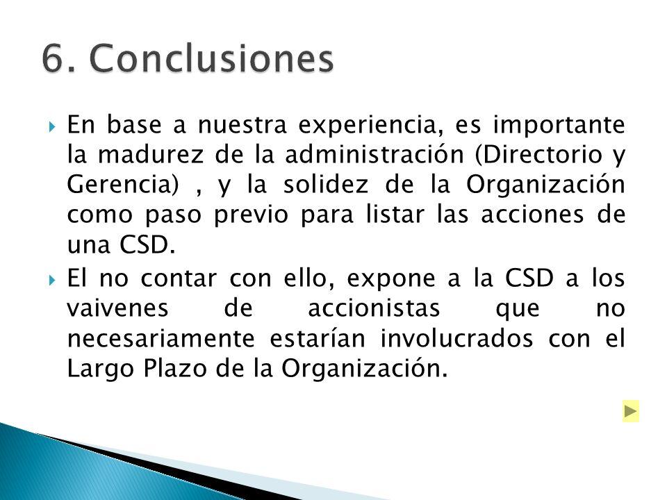 En base a nuestra experiencia, es importante la madurez de la administración (Directorio y Gerencia), y la solidez de la Organización como paso previo