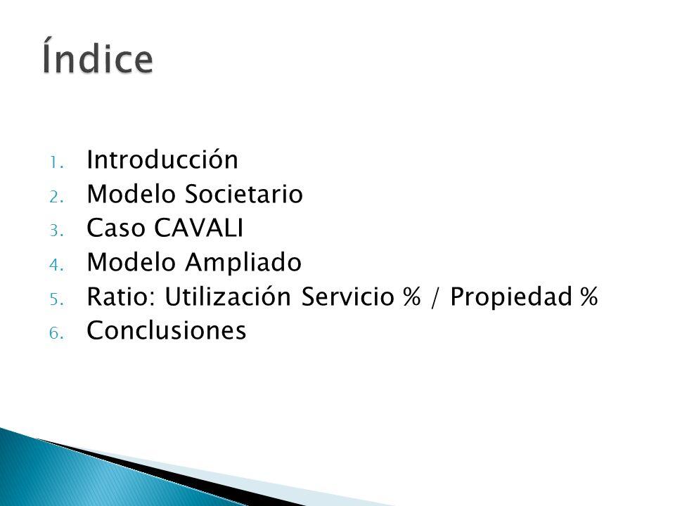 1. Introducción 2. Modelo Societario 3. Caso CAVALI 4. Modelo Ampliado 5. Ratio: Utilización Servicio % / Propiedad % 6. Conclusiones