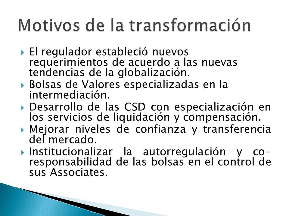 El regulador estableció nuevos requerimientos de acuerdo a las nuevas tendencias de la globalización. Bolsas de Valores especializadas en la intermedi