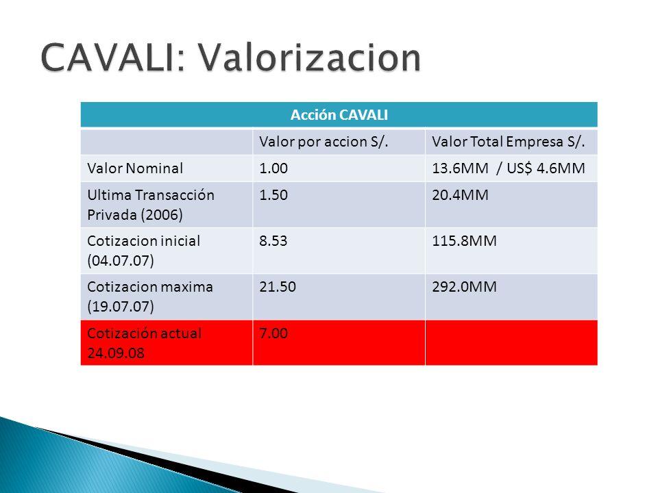 Acción CAVALI Valor por accion S/.Valor Total Empresa S/. Valor Nominal1.0013.6MM / US$ 4.6MM Ultima Transacción Privada (2006) 1.5020.4MM Cotizacion