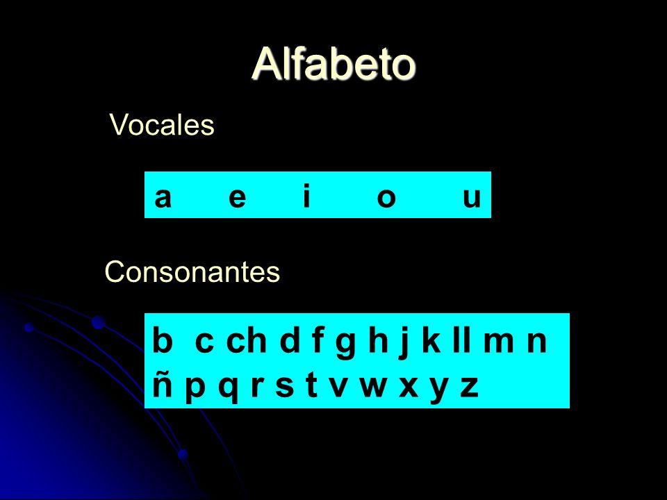 Alfabeto Vocales Consonantes a e i o u b c ch d f g h j k ll m n ñ p q r s t v w x y z