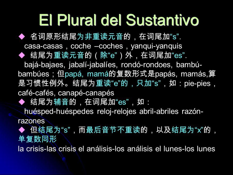 El Plural del Sustantivo s. casa-casas coche –coches yanqui-yanquis ees. bajá-bajaes, jabalí-jabalíes, rondó-rondoes, bambú- bambúes papá, mamá papás,