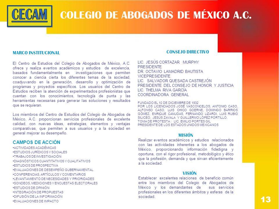 COLEGIO DE ABOGADOS DE MÉXICO A.C. MARCO INSTITUCIONAL El Centro de Estudios del Colegio de Abogados de México, A.C. ofrece y realiza eventos académic