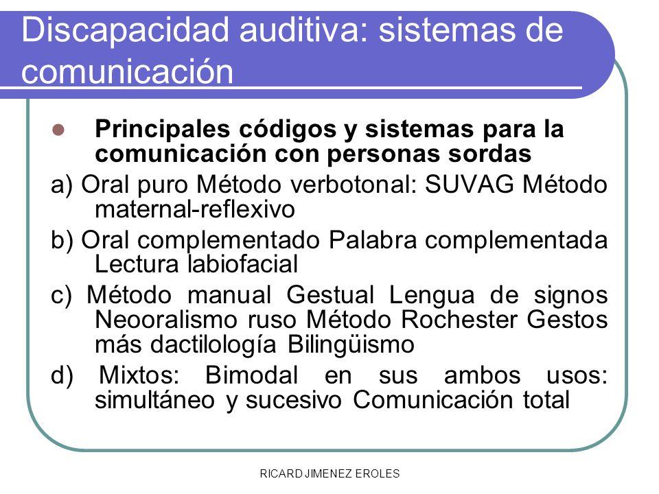 RICARD JIMENEZ EROLES Discapacidad auditiva: sistemas de comunicación Principales códigos y sistemas para la comunicación con personas sordas a) Oral