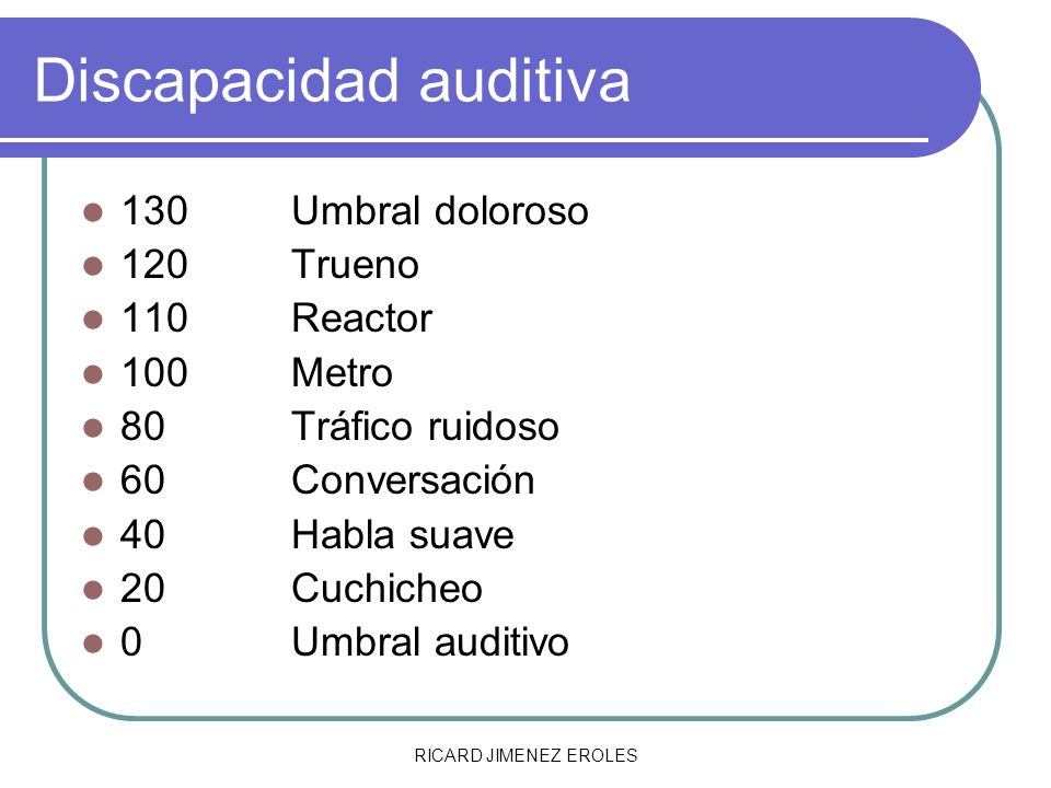 RICARD JIMENEZ EROLES Discapacidad auditiva: Clasificación Tipos de sordera dependiendo de la estructura dañada a) Hipocusia de transmisión o conductiva b) Hipoacusia de percepción o neurosensorial c) Hipoacusias mixtas
