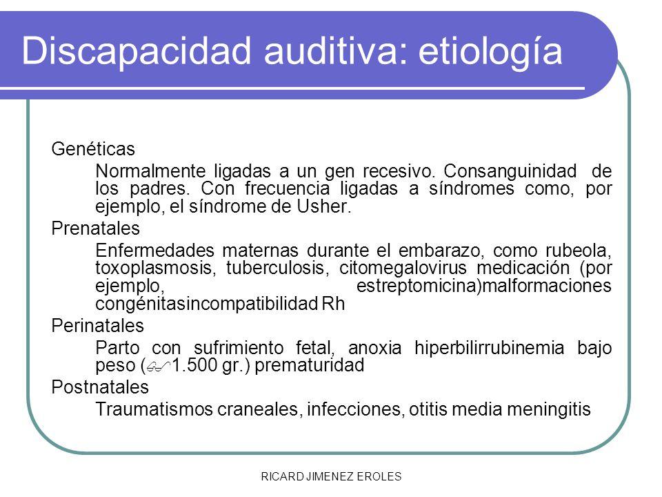 RICARD JIMENEZ EROLES Discapacidad auditiva: etiología Genéticas Normalmente ligadas a un gen recesivo. Consanguinidad de los padres. Con frecuencia l