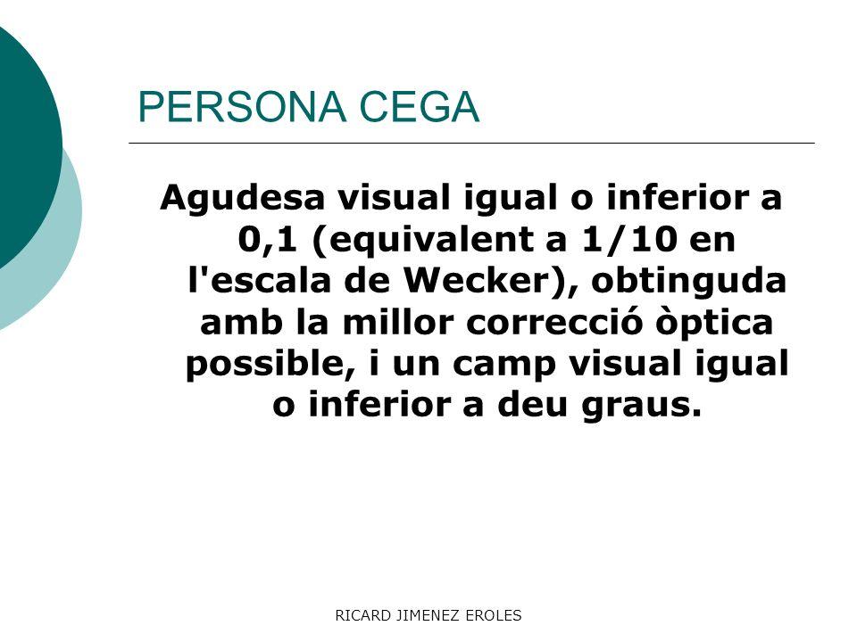 RICARD JIMENEZ EROLES PERSONA CEGA Agudesa visual igual o inferior a 0,1 (equivalent a 1/10 en l'escala de Wecker), obtinguda amb la millor correcció