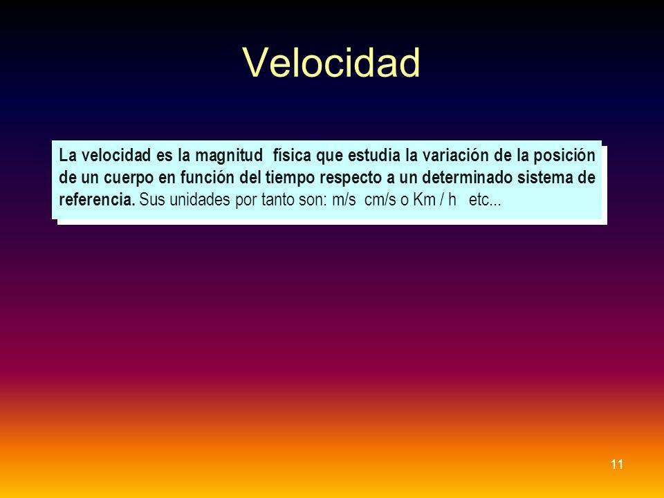 Velocidad 11 La velocidad es la magnitud física que estudia la variación de la posición de un cuerpo en función del tiempo respecto a un determinado s