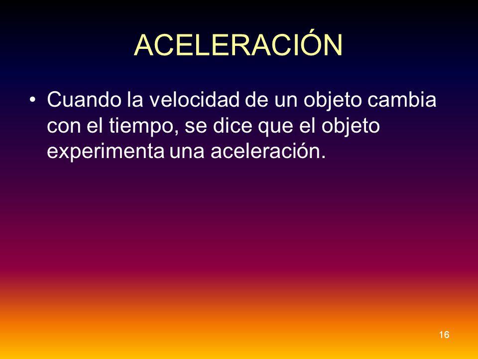 ACELERACIÓN Cuando la velocidad de un objeto cambia con el tiempo, se dice que el objeto experimenta una aceleración. 16