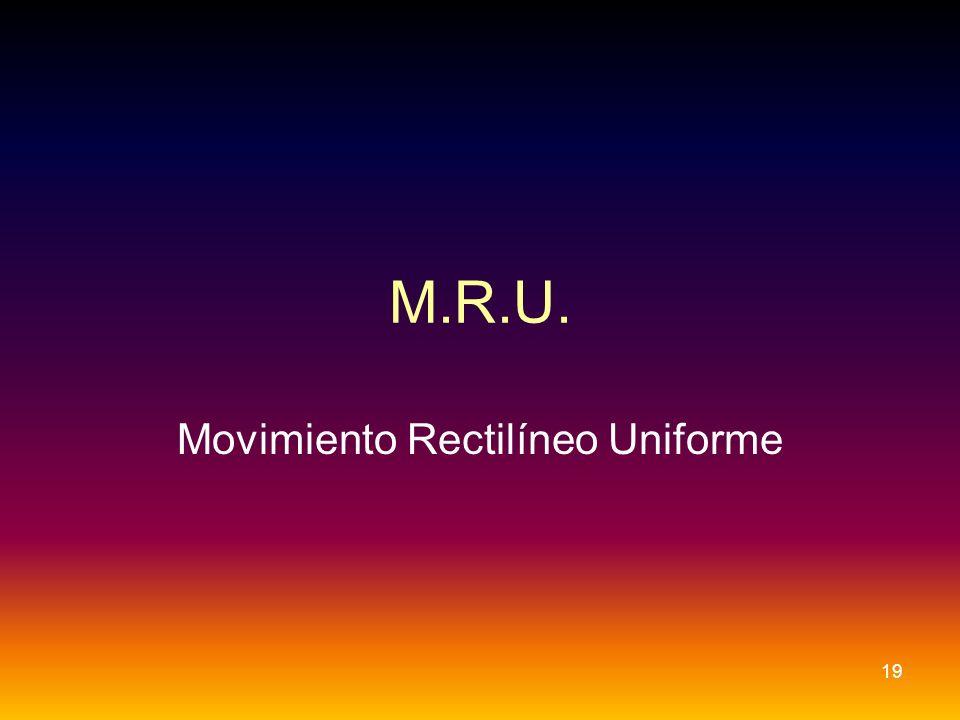 M.R.U. Movimiento Rectilíneo Uniforme 19