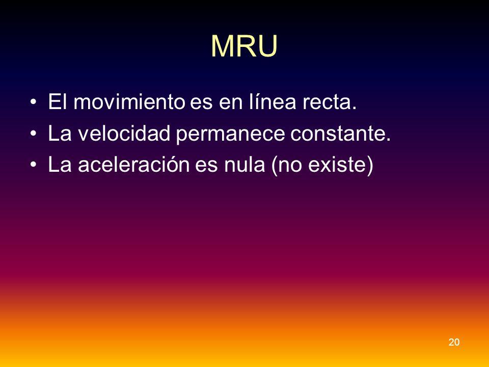 MRU El movimiento es en línea recta. La velocidad permanece constante. La aceleración es nula (no existe) 20