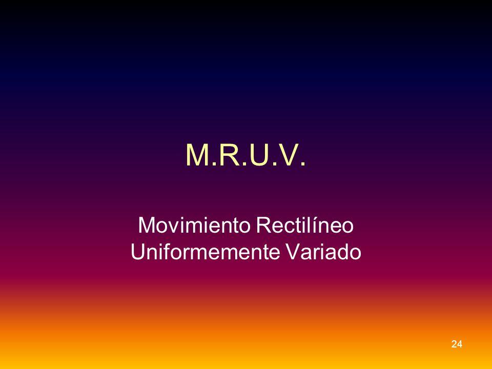 M.R.U.V. Movimiento Rectilíneo Uniformemente Variado 24
