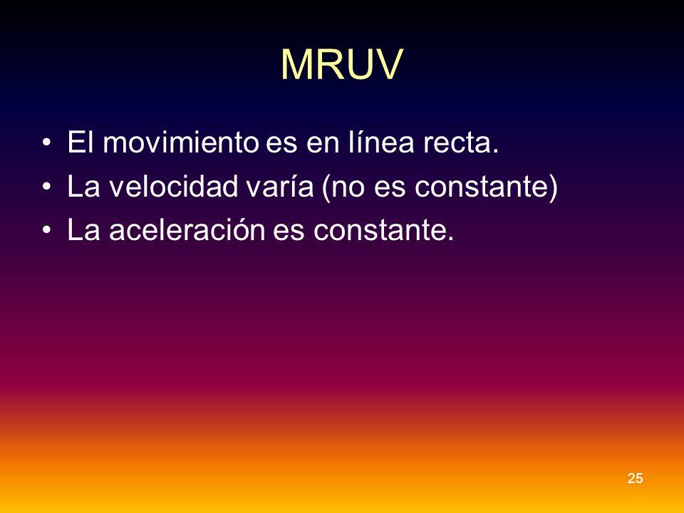 MRUV El movimiento es en línea recta. La velocidad varía (no es constante) La aceleración es constante. 25
