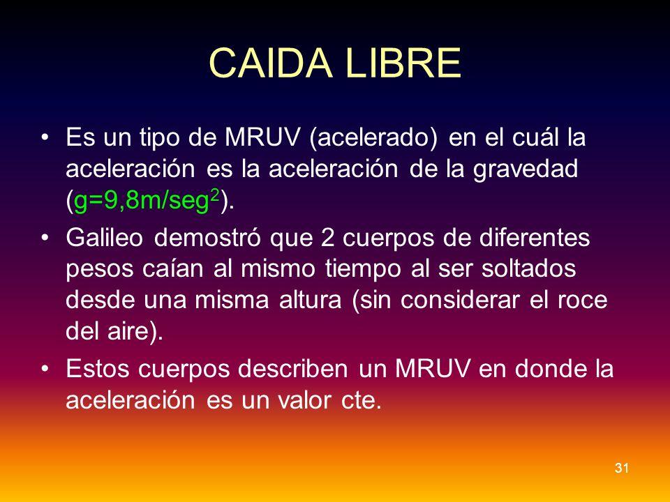CAIDA LIBRE Es un tipo de MRUV (acelerado) en el cuál la aceleración es la aceleración de la gravedad (g=9,8m/seg 2 ). Galileo demostró que 2 cuerpos