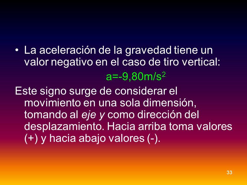 La aceleración de la gravedad tiene un valor negativo en el caso de tiro vertical: a=-9,80m/s 2 Este signo surge de considerar el movimiento en una so