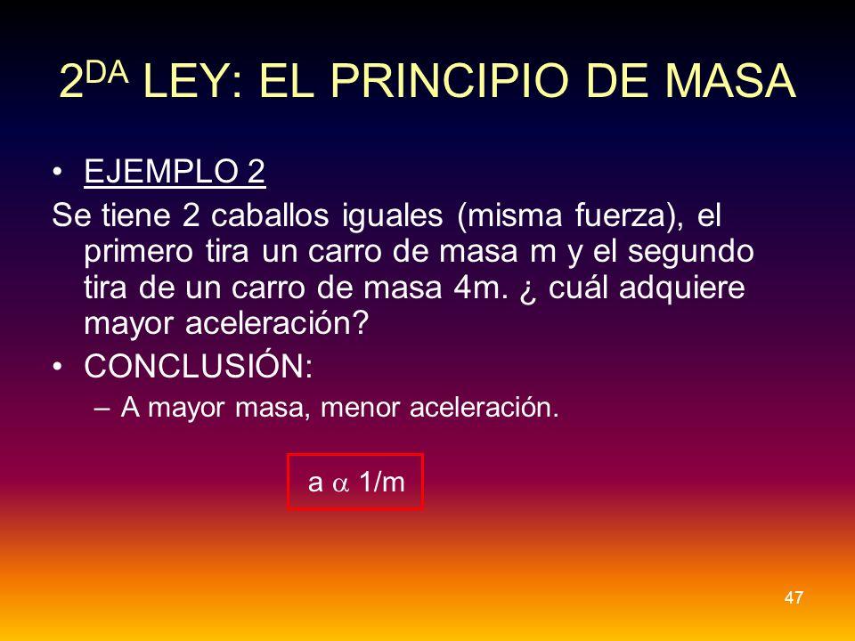 EJEMPLO 2 Se tiene 2 caballos iguales (misma fuerza), el primero tira un carro de masa m y el segundo tira de un carro de masa 4m. ¿ cuál adquiere may