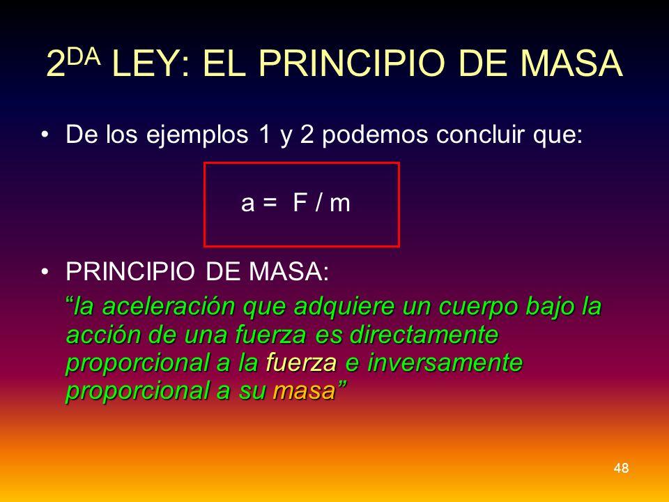 De los ejemplos 1 y 2 podemos concluir que: a = F / m PRINCIPIO DE MASA: la aceleración que adquiere un cuerpo bajo la acción de una fuerza es directa