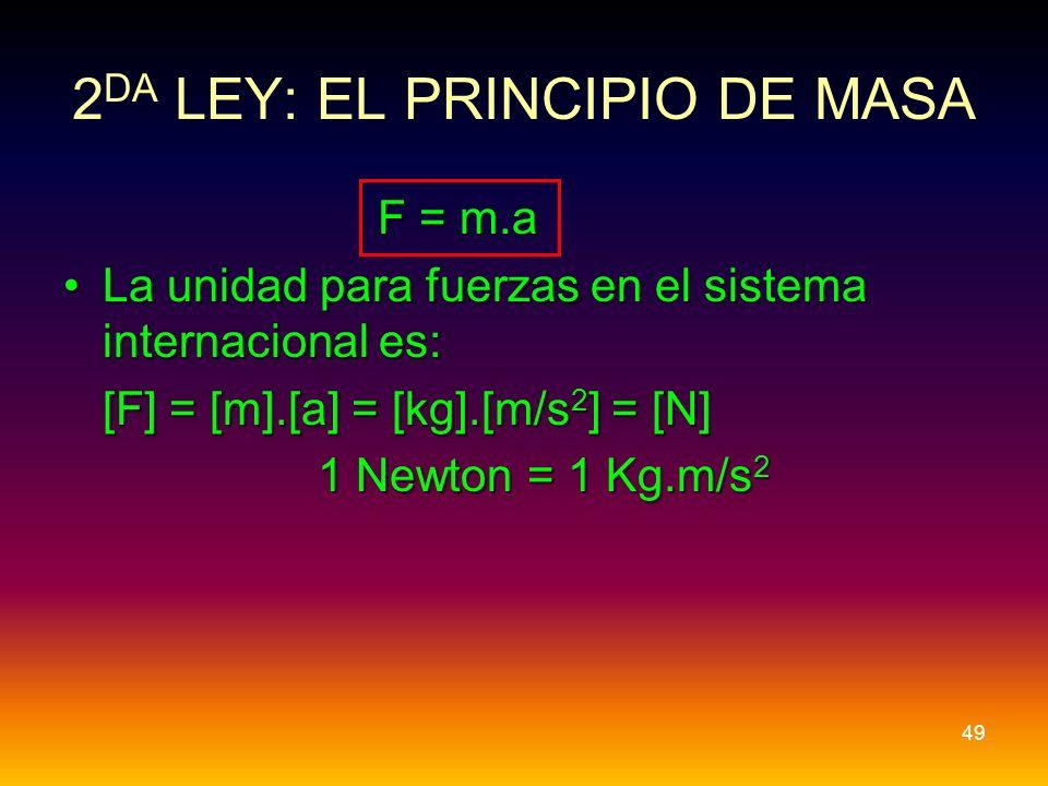 F = m.a La unidad para fuerzas en el sistema internacional es:La unidad para fuerzas en el sistema internacional es: [F] = [m].[a] = [kg].[m/s 2 ] = [