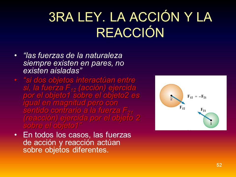 3RA LEY. LA ACCIÓN Y LA REACCIÓN las fuerzas de la naturaleza siempre existen en pares, no existen aisladas si dos objetos interactúan entre si, la fu