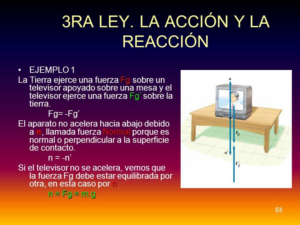 3RA LEY. LA ACCIÓN Y LA REACCIÓN EJEMPLO 1 Fg Fg La Tierra ejerce una fuerza Fg sobre un televisor apoyado sobre una mesa y el televisor ejerce una fu