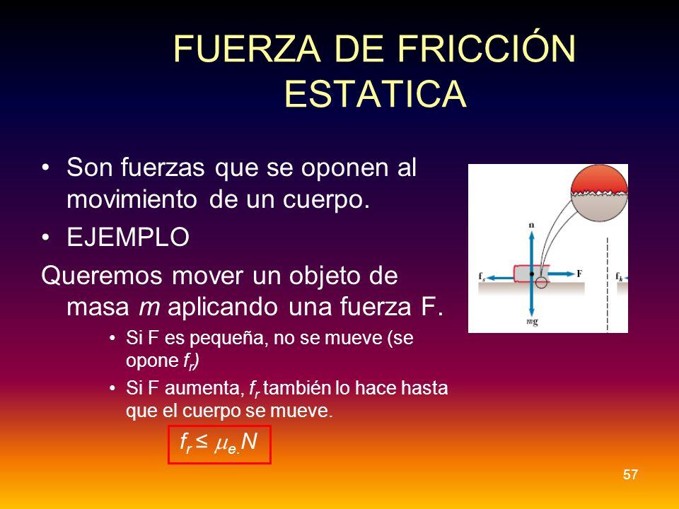 FUERZA DE FRICCIÓN ESTATICA Son fuerzas que se oponen al movimiento de un cuerpo. EJEMPLO Queremos mover un objeto de masa m aplicando una fuerza F. S