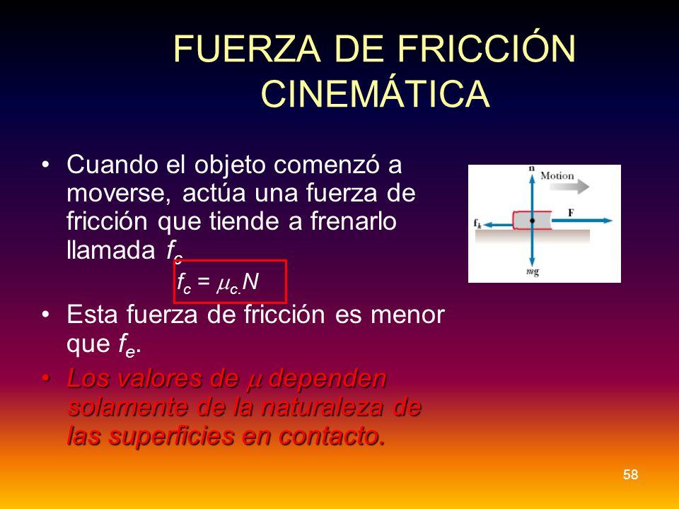 FUERZA DE FRICCIÓN CINEMÁTICA Cuando el objeto comenzó a moverse, actúa una fuerza de fricción que tiende a frenarlo llamada f c f c = c. N Esta fuerz