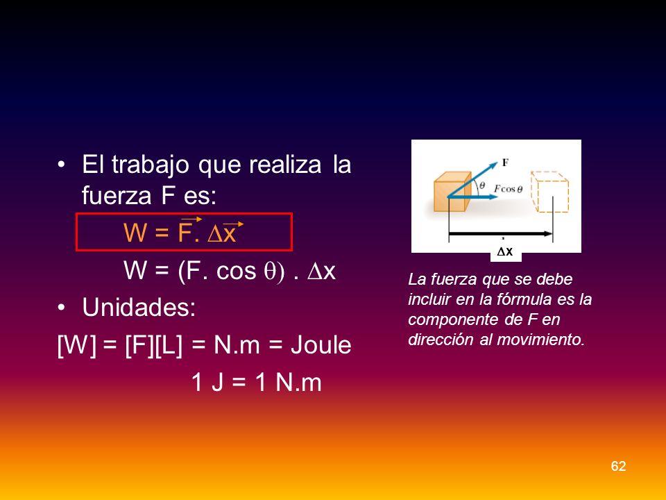El trabajo que realiza la fuerza F es: W = F. x W = (F. cos. x Unidades: [W] = [F][L] = N.m = Joule 1 J = 1 N.m x La fuerza que se debe incluir en la