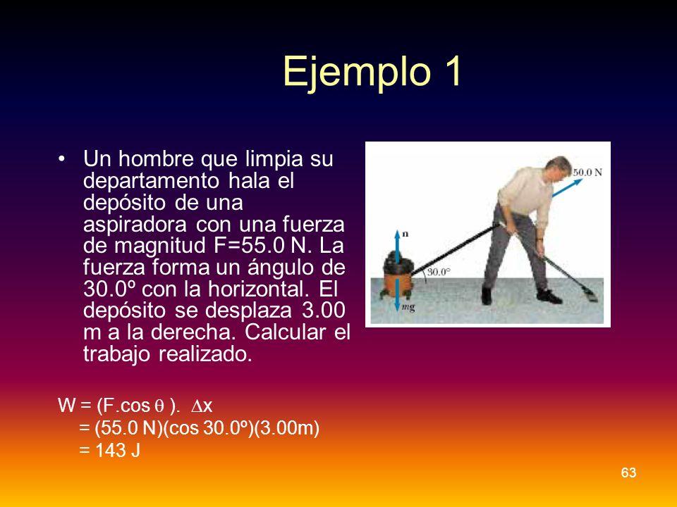 Ejemplo 1 Un hombre que limpia su departamento hala el depósito de una aspiradora con una fuerza de magnitud F=55.0 N. La fuerza forma un ángulo de 30