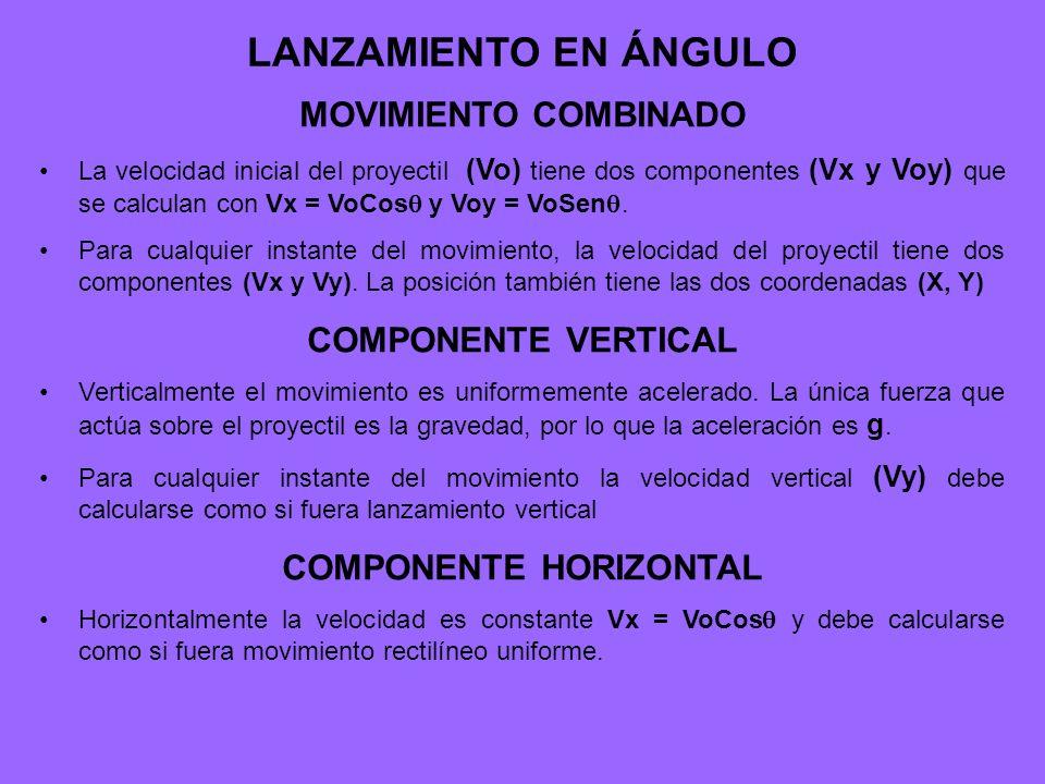 LANZAMIENTO EN ÁNGULO MOVIMIENTO COMBINADO La velocidad inicial del proyectil (Vo) tiene dos componentes (Vx y Voy) que se calculan con Vx = VoCos y V