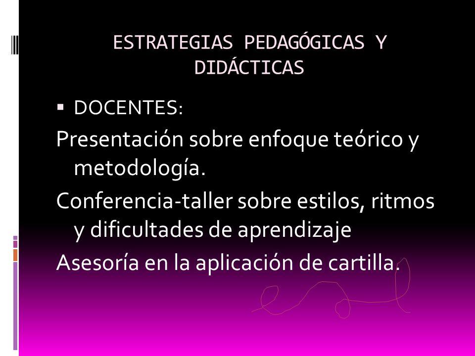 ESTRATEGIAS PEDAGÓGICAS Y DIDÁCTICAS DOCENTES: Presentación sobre enfoque teórico y metodología. Conferencia-taller sobre estilos, ritmos y dificultad