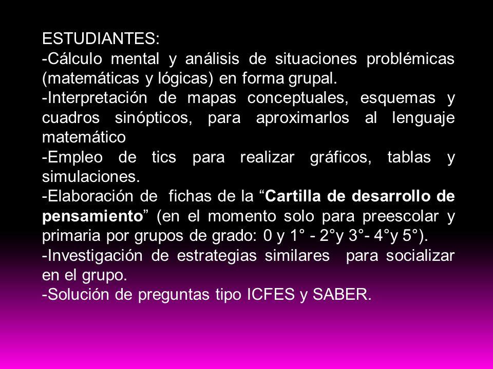 ESTUDIANTES: -Cálculo mental y análisis de situaciones problémicas (matemáticas y lógicas) en forma grupal. -Interpretación de mapas conceptuales, esq