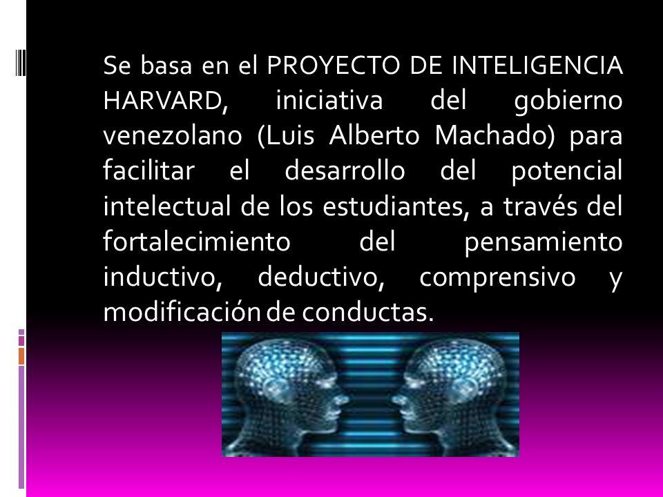 Se basa en el PROYECTO DE INTELIGENCIA HARVARD, iniciativa del gobierno venezolano (Luis Alberto Machado) para facilitar el desarrollo del potencial i