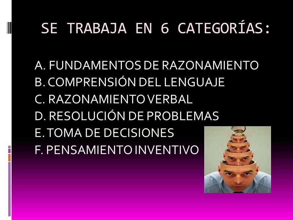 SE TRABAJA EN 6 CATEGORÍAS: A. FUNDAMENTOS DE RAZONAMIENTO B. COMPRENSIÓN DEL LENGUAJE C. RAZONAMIENTO VERBAL D. RESOLUCIÓN DE PROBLEMAS E. TOMA DE DE