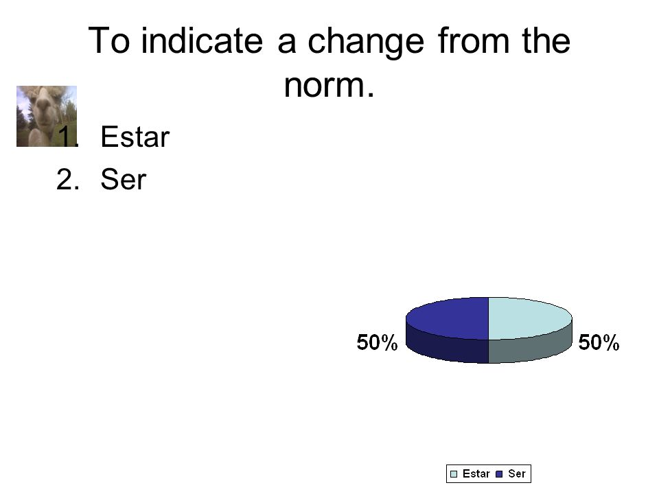 To indicate a change from the norm. 1.Estar 2.Ser