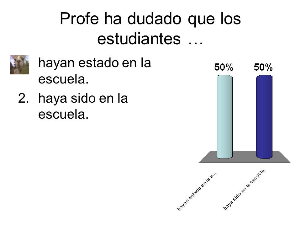 Profe ha dudado que los estudiantes … 1.hayan estado en la escuela. 2.haya sido en la escuela.