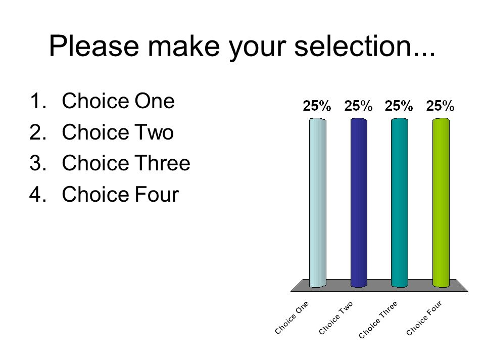 Please make your selection... 1.Choice One 2.Choice Two 3.Choice Three 4.Choice Four