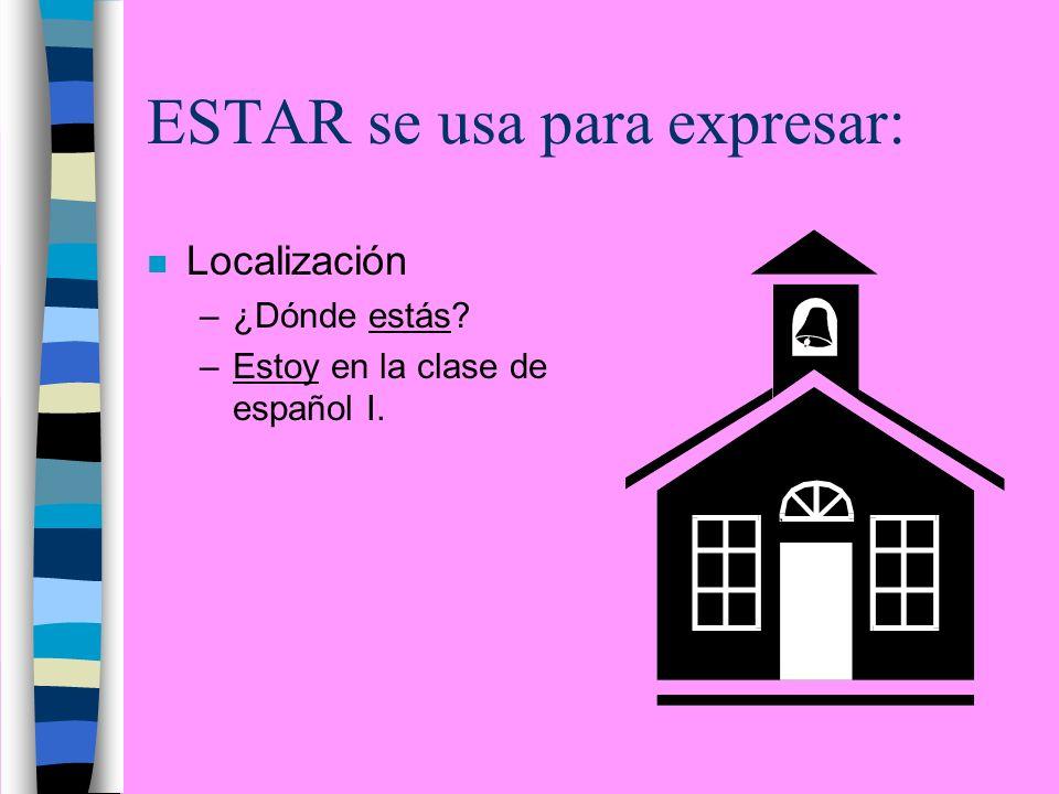 ESTAR se usa para expresar: n Localización –¿Dónde estás? –Estoy en la clase de español I.