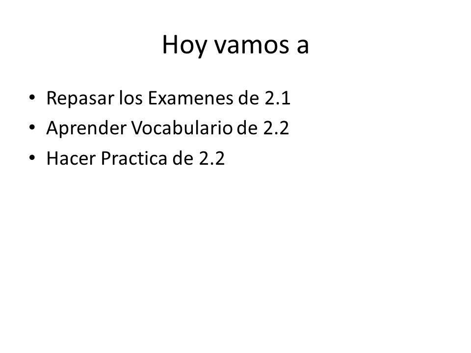 Hoy vamos a Repasar los Examenes de 2.1 Aprender Vocabulario de 2.2 Hacer Practica de 2.2