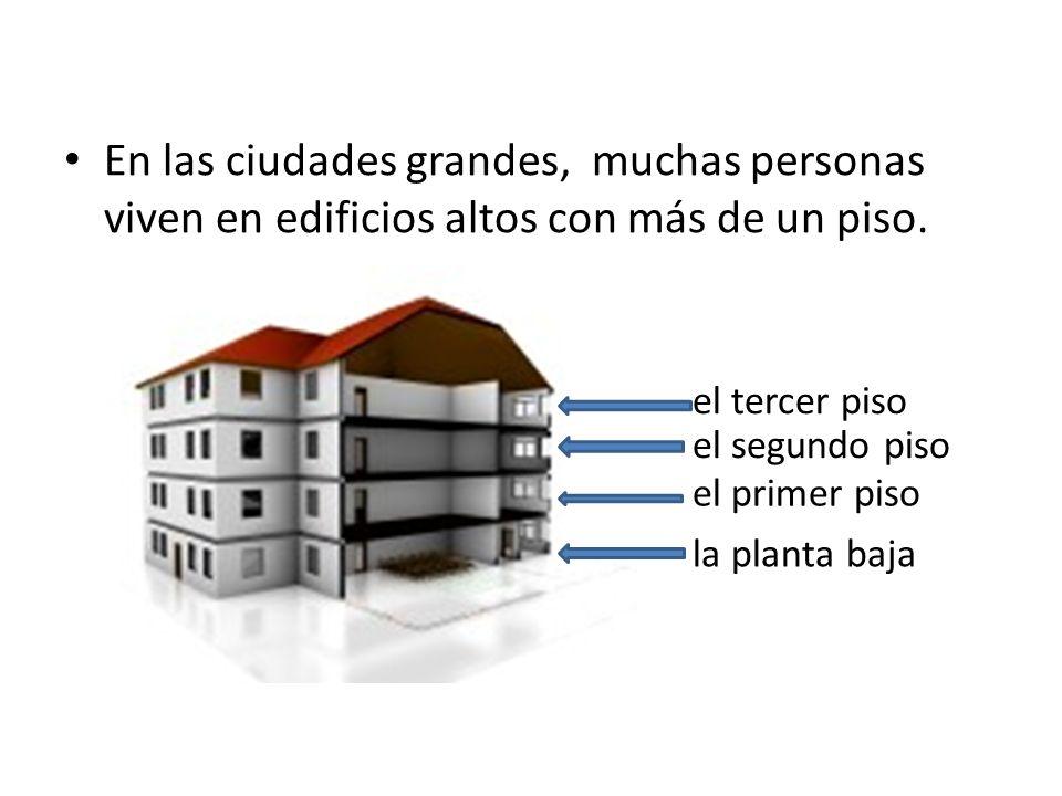 En las ciudades grandes, muchas personas viven en edificios altos con más de un piso. la planta baja el primer piso el segundo piso el tercer piso
