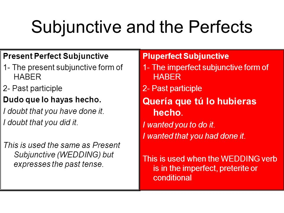 Subjunctive and the Perfects Present Perfect Subjunctive 1- The present subjunctive form of HABER 2- Past participle Dudo que lo hayas hecho. I doubt