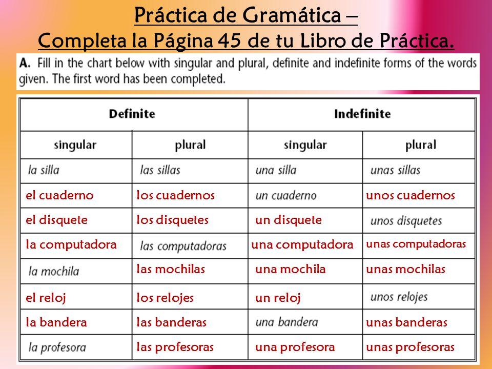 Práctica de Gramática – Completa la Página 45 de tu Libro de Práctica. el cuadernolos cuadernosunos cuadernos el disquetelos disquetesun disquete la c