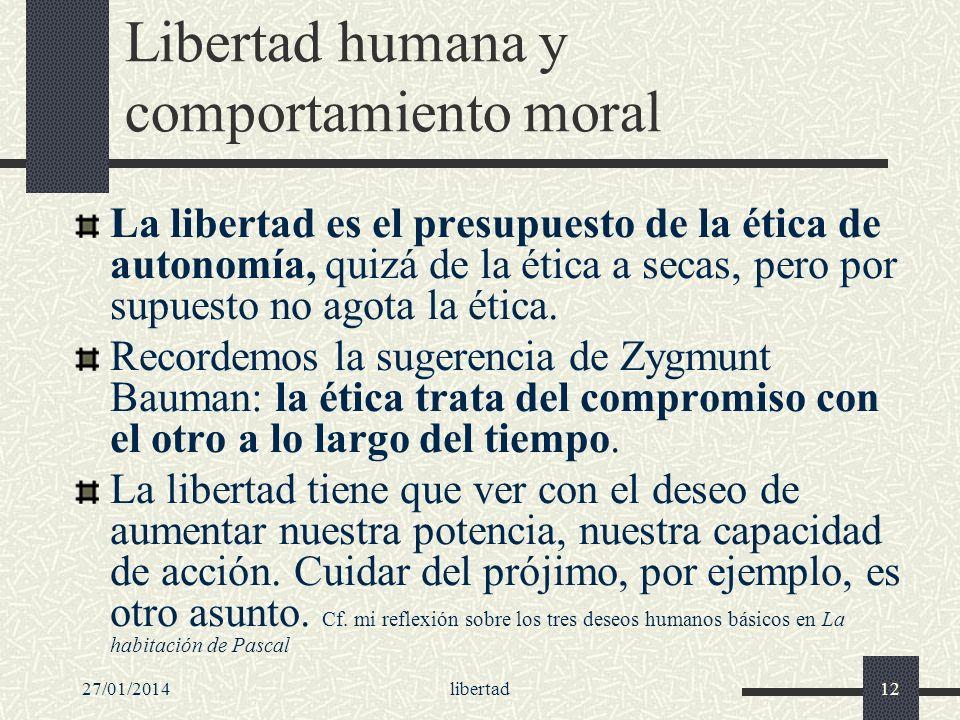 27/01/2014libertad12 Libertad humana y comportamiento moral La libertad es el presupuesto de la ética de autonomía, quizá de la ética a secas, pero po