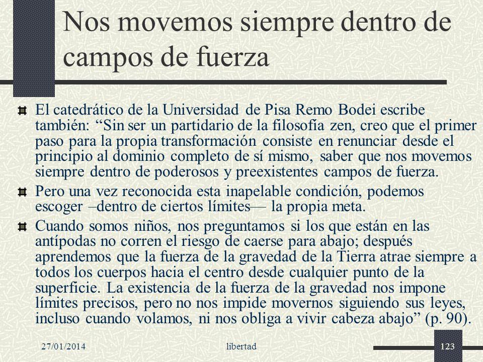27/01/2014libertad123 Nos movemos siempre dentro de campos de fuerza El catedrático de la Universidad de Pisa Remo Bodei escribe también: Sin ser un p