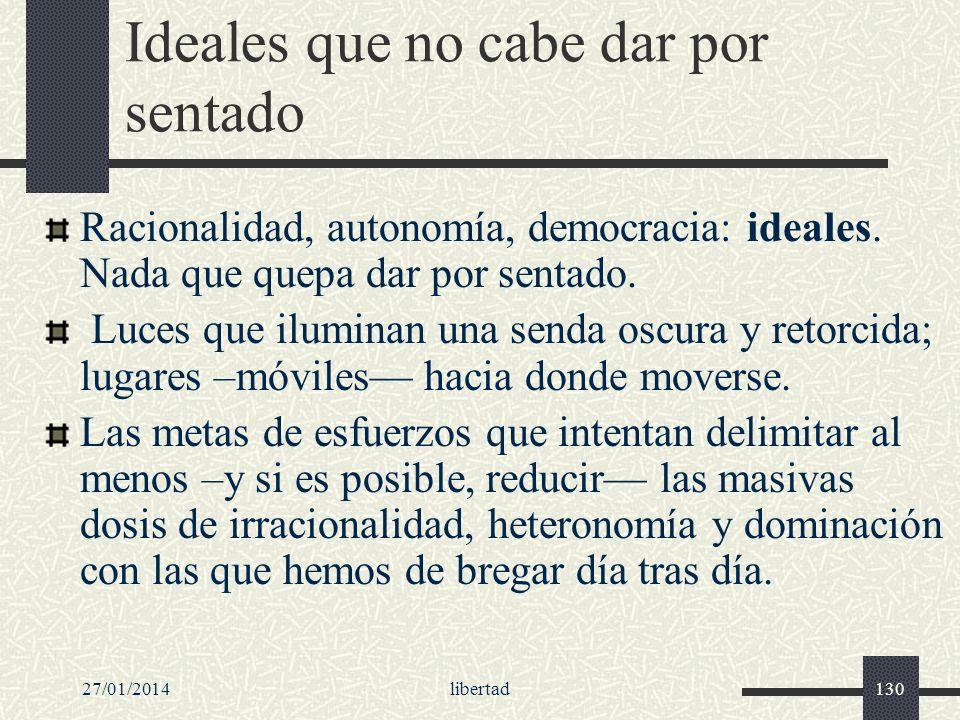 27/01/2014libertad130 Ideales que no cabe dar por sentado Racionalidad, autonomía, democracia: ideales. Nada que quepa dar por sentado. Luces que ilum