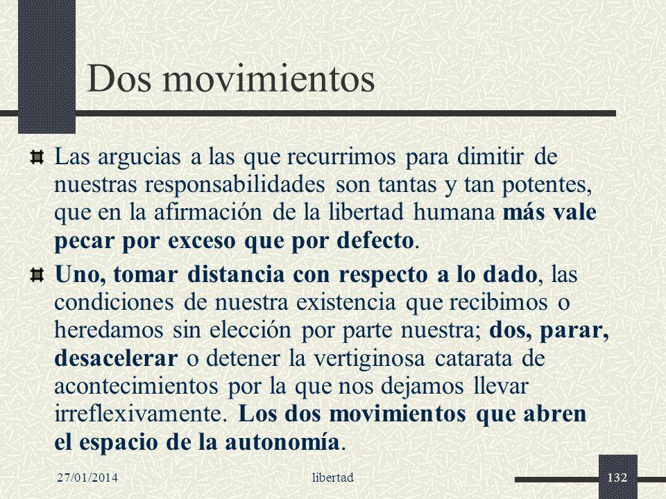 27/01/2014libertad132 Dos movimientos Las argucias a las que recurrimos para dimitir de nuestras responsabilidades son tantas y tan potentes, que en l